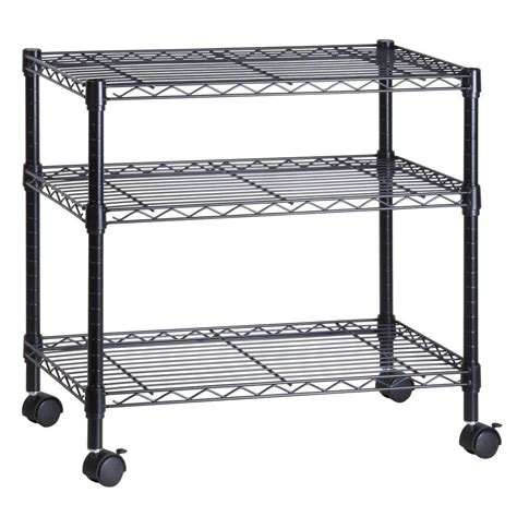 honey can do 3 shelf steel wire cart in black crt 04050