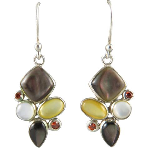 multi gemstone and sterling dangle earrings from