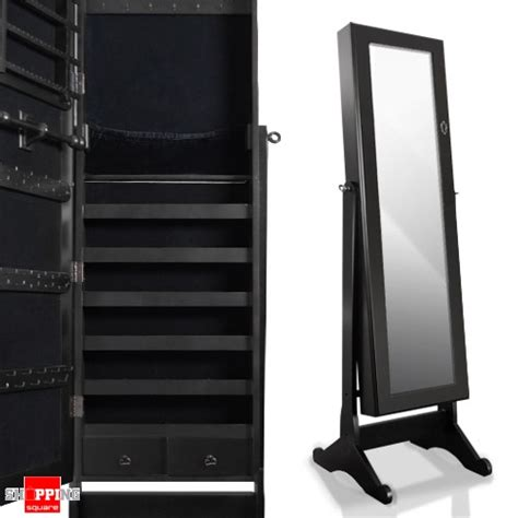 full size mirror cabinet wooden mirrored jewellery full length cabinet charcoal