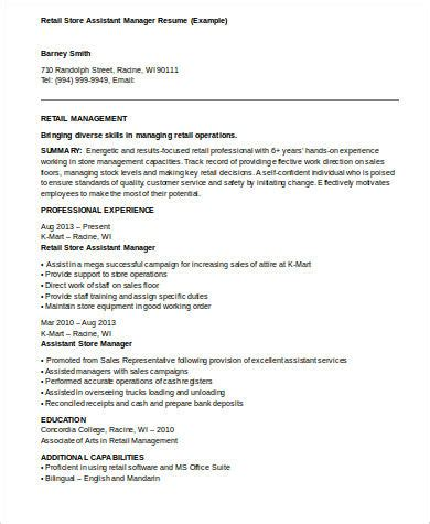 Retail Assistant Manager Resume by 8 Sle Assistant Manager Resumes Sle Templates