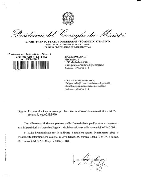 indirizzo presidenza consiglio dei ministri pirp quot accesso agli atti presidenza consiglio ministri