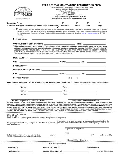 contractor template contract general contract free printable documents