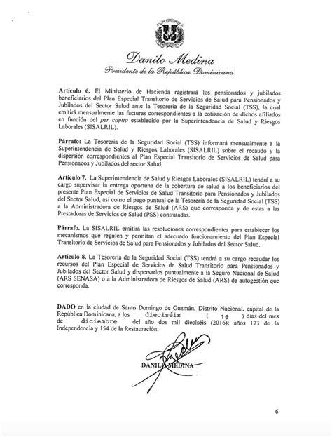 Pensionado Por Decreto 2016   decreto presidente crea plan especial para salud de