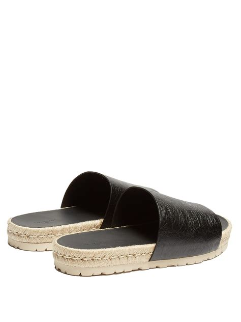 Balenciagaleather Slides lyst balenciaga leather slides in black for