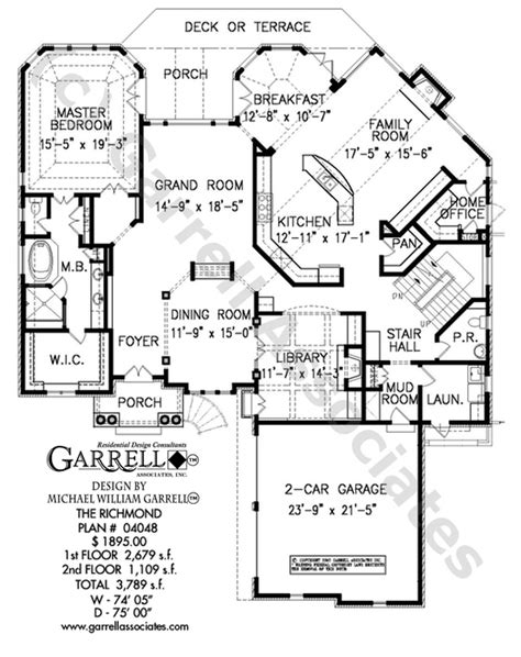 richmond floor plan richmond house plan house plans by garrell associates inc