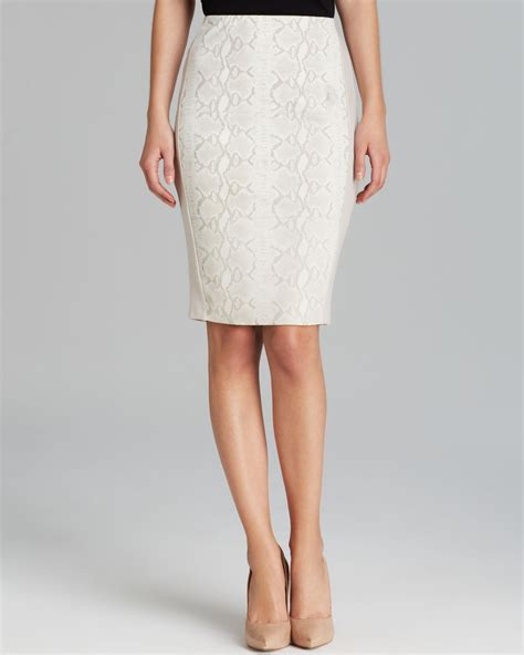 bailey 44 pencil skirt python printed leather in