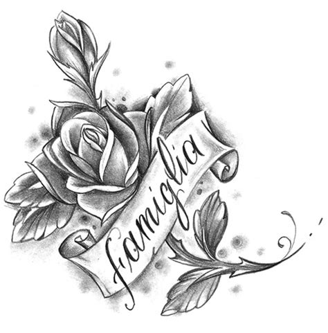 rose script tattoo flash gallery