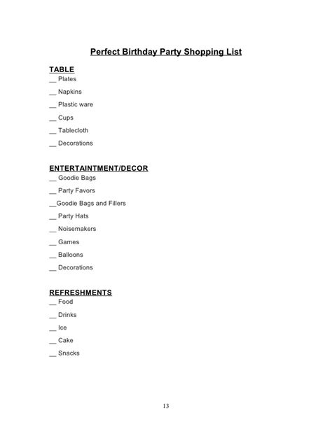 list of decorations birthday book by magic glen