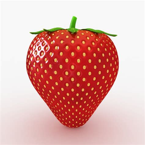 3d 3 Strawberry 3d realistic strawberry