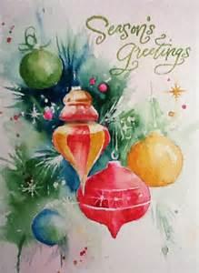 watercolor christmas card ornaments