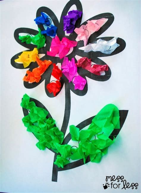 Tissue Paper Flower Craft - tissue paper flower lesson plans