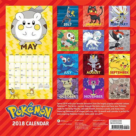 libro pokemon official 2018 calendar 2018 pok 233 mon wall calendar thinkgeek