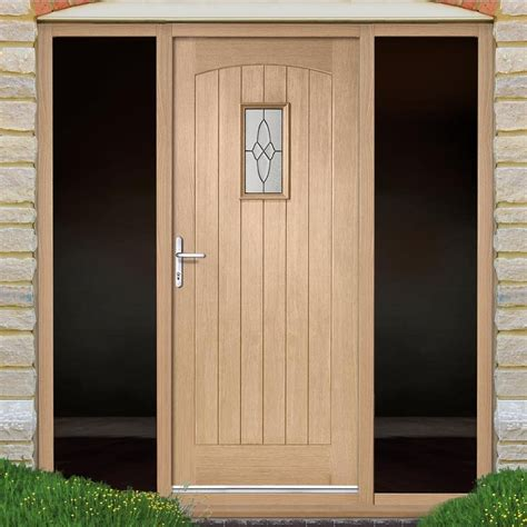Exterior Oak Doors Cottage Oak Exterior Door With Black Leadwork Bevelled Tri Glazing And Frame With Two Unglazed