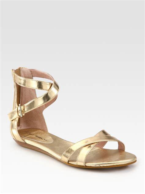 leather gladiator sandals minkoff bettina metallic leather gladiator sandals