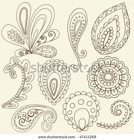 paisley pattern doodle hand drawn abstract henna paisley vector illustration
