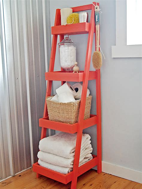 ladder shelf bathroom pretty functional bathroom storage ideas the inspired room