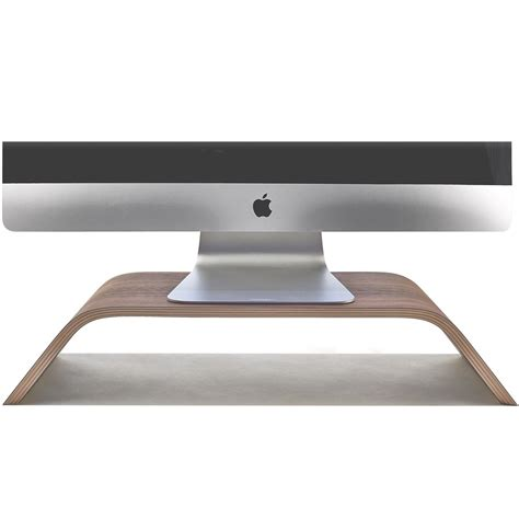 wooden monitor stand desktop walnut imac riser