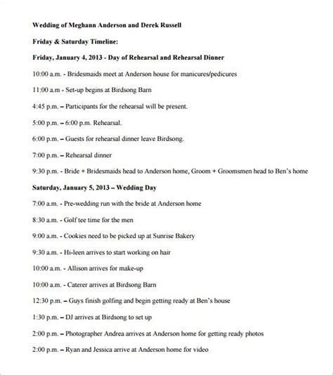 day of wedding timeline template 34 wedding timeline templates free sle exle