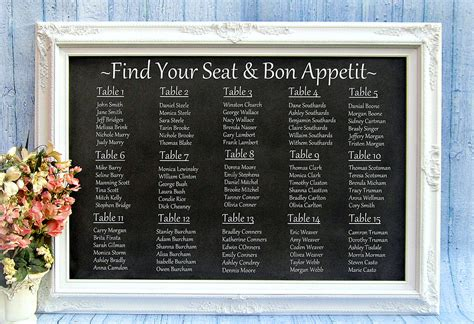 table seating chart ideas for weddings