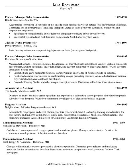 Sle Professional Resume For Assistant Career Center Business Resume Sle 28 Images Resume In Office Administration Sales