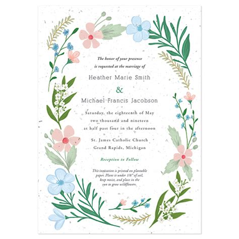 wildflower wedding invitation kits wildflower plantable wedding invitations plantable