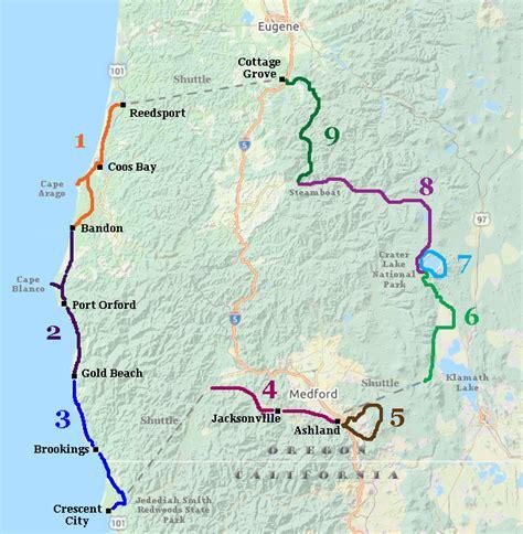 map crater lake oregon oregon coast bike tour reedsport to bandon
