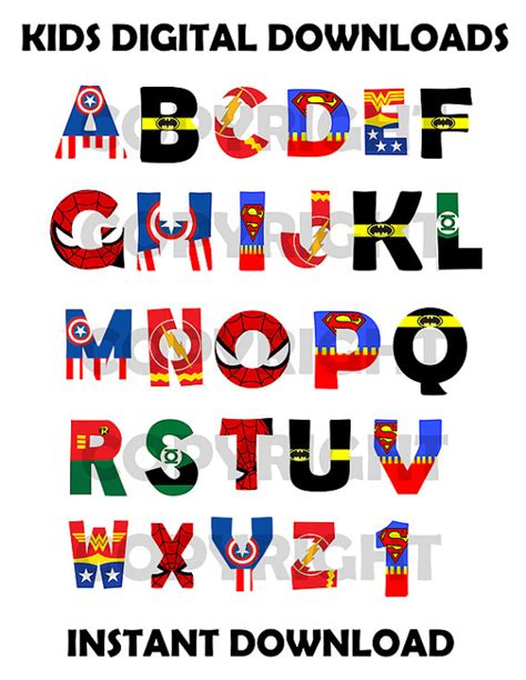 printable superhero font superhero font alphabet superhero por kidsdigitaldownloads