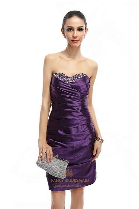 Purple Strapless Dress purple strapless embellished ruched sheath knee length