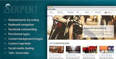 wordpress themes free social network serpent social network themeforest wp theme wordpress
