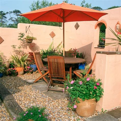 Small Mediterranean Garden Ideas Garden Ideas Garden Furniture Parasol Alfresco Entertaining Mediterranean Garden