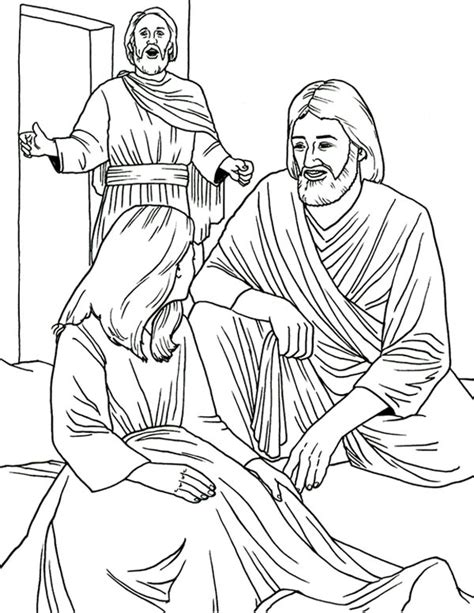 coloring page jesus heals jairus daughter jesus heals jairus daughter in miracles of jesus coloring