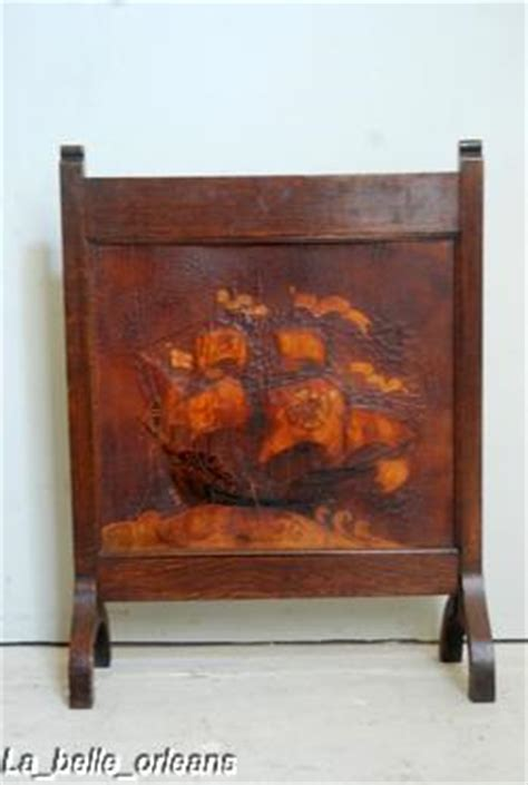 antique fireplace screens sale screen tooled leather galleon ship