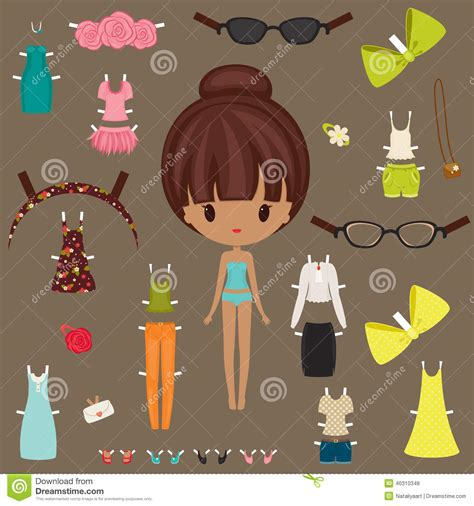 dress up paper doll stock vector image of body dress
