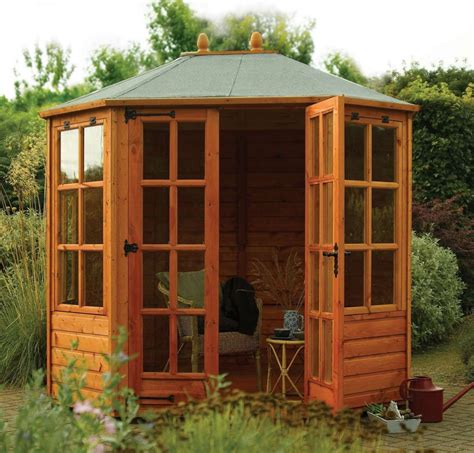 summer house windows ryton 8x6 octagonal summerhouse locking double doors opening window summer house ebay