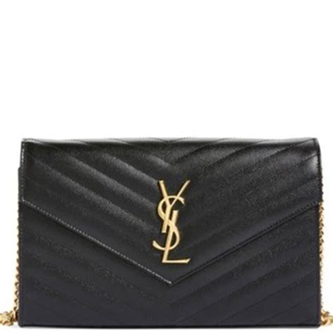 saint laurent chain wallet ysl large monogram black