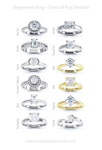 wedding ring styles engagement ring help styles of ring shoulders a chart of various types of engagement ring