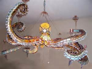 chandelier stained glass the sea stained glass octopus chandelier geekologie