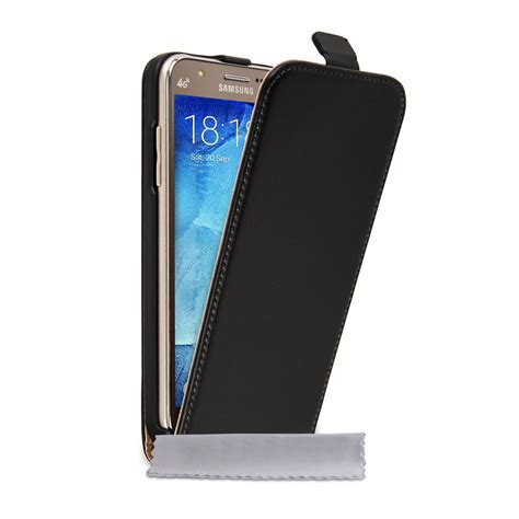 P Samsung J5 Caseflex Samsung Galaxy J5 Real Leather Flip Black