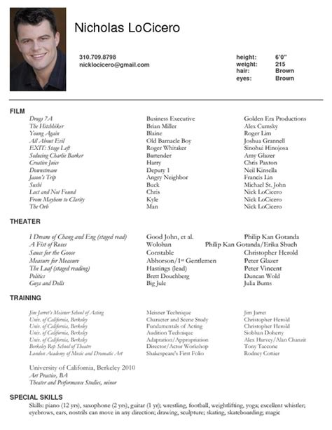 excellent actors resume format exles of acting resume search results calendar 2015