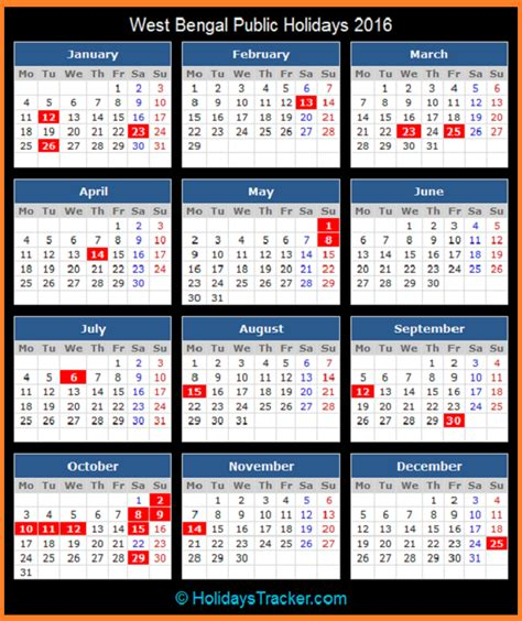 Calendar 2018 Holidays In West Bengal West Bengal India Holidays 2016 Holidays Tracker