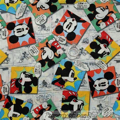 boneful fabric fq cotton quilt vtg l disney mickey mouse