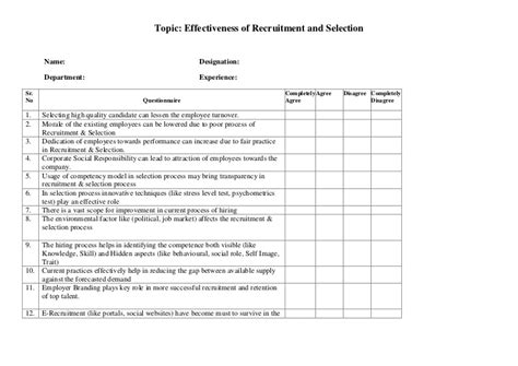 Questionnaire Recruitment Selection E Learning Questionnaire Template