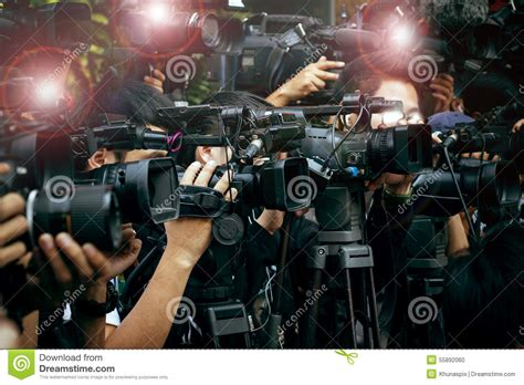 Press And Media Photographer On Press And Media Photographer On Duty In New Stock Photo Image