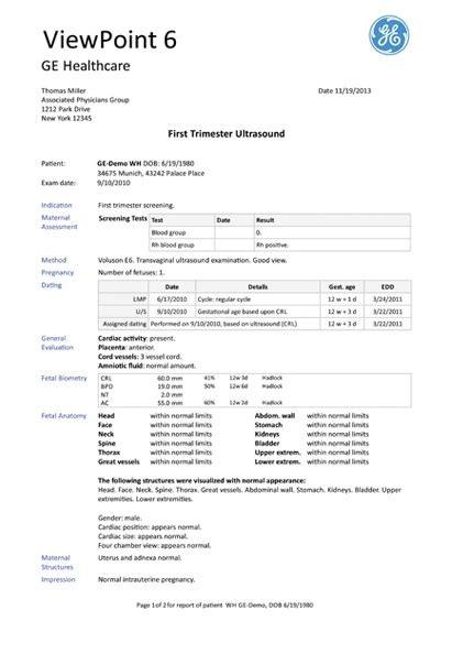 Ultrasound Report Template viewpoint 6 for ob gyn ultrasound it ultrasound products