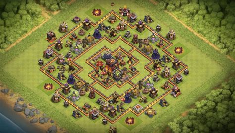 defensive war base for th10 13 th7 to th11 farming trophy war base layouts for