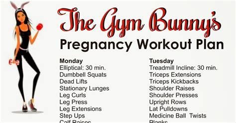 weekly workout plan the bunny pregnancy weekly workout plan