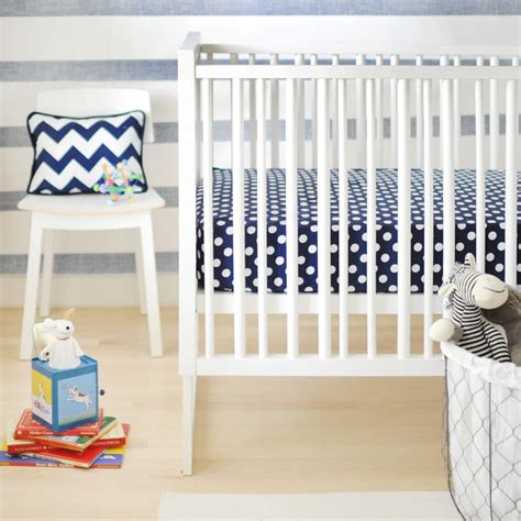 Navy Crib Sheets by Polka Dot In Navy Crib Sheet By New Arrivals Inc