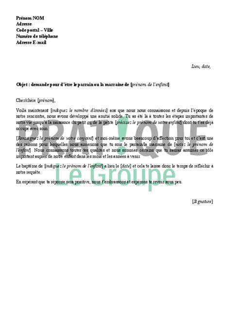 Modeles Lettre Bapteme Lettre De Proposition Pour 234 Tre Le Parrain Ou La Marraine De Enfant Pratique Fr