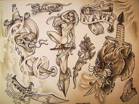 tattoo flash drawings tattoo flash 4 by greglakowske on deviantart