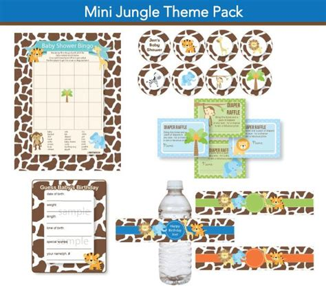 games themes pack instant download jungle baby shower mini jungle baby